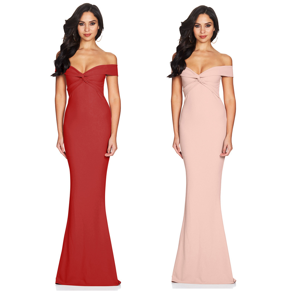 Robe De Soiree Mermaid Burgundry Long Evening Vintage Dresses Party Elegant  Vestido De Festa Long Prom Gown 2018 Cold Shoulder 9d28083267e0