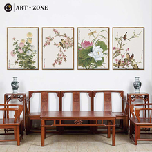 ART ZONE Chinese Traditional Landscape Paintings Freehand Bird Flower Decorative Canvas Poster Home Decoration Picture