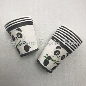 Image 5 - 112 pcs/lot dessin animé Panda thème fête danniversaire jetable vaisselle ensemble assiettes serviettes fête fournisseurs décorations