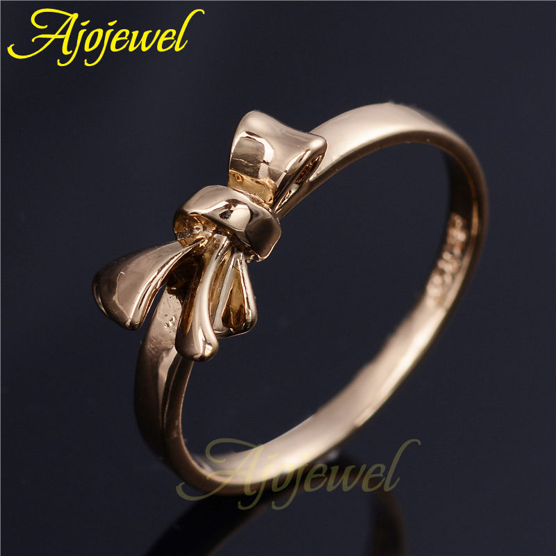 Ajojewel Simple Style Rose Gold color Bowknot Cute Rings For Women ...