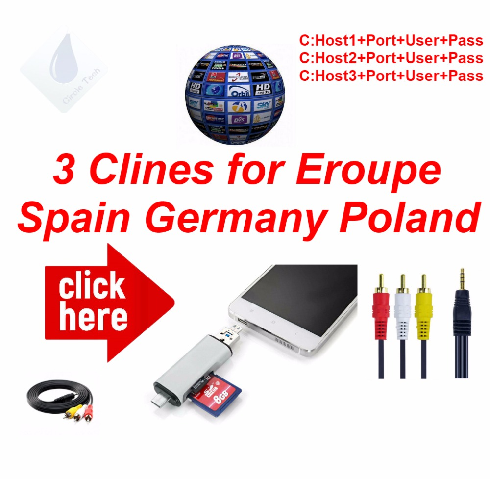 HD AV Cable 1 Year Cccam 3 Lines Europe Germany Poland Spain UK France Freesat Satellite Receiver