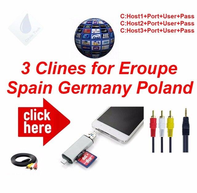 Hd av ケーブル最高スペイン 1 年 clines 3/4/6 ラインヨーロッパドイツポーランド英国 freesat 衛星放送受信機