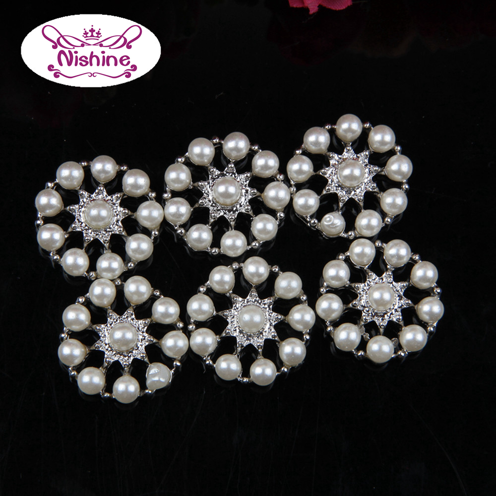 Bridal Hair Diy: Nishine Vintage Round Faux Pearl Button Silver Flat Back