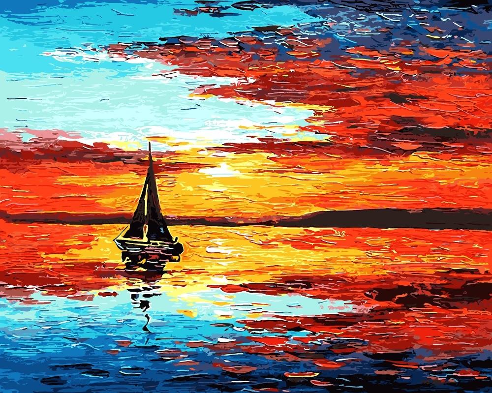 DIY Minyak Lukisan Mewarnai Dengan Nomor Gambar Tangan Wall Art Seascape perahu layar Kanvas Cat Dekorasi Rumah Kreatif Untuk Ruang Tamu di Painting