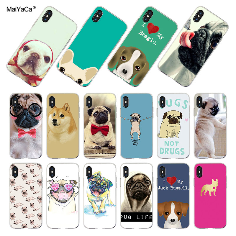 MaiYaCa Transparent soft TPU Cell Phone case For iPhone X Case CUTE BullDog Pug DOGS cover for iphone X case phone bags