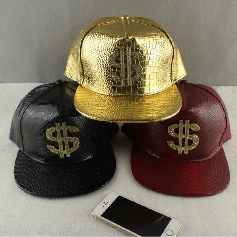 Faux Leather Baseball Caps Gold Dollar $ Logo With Bling Hiphop Gorras Snapback Hat Adjustable Fashion Cool Casquette For Unisex cotton fine hiphop luxury caps multi snapcap cool gorras unisex new active hat beautiful napback adult baseball yj6 h1