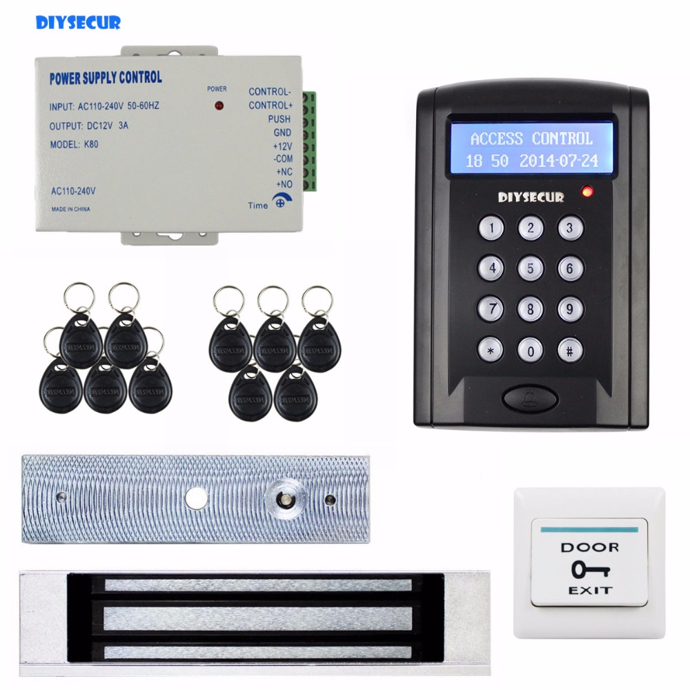 DIYSECUR Magnetic Door Lock LCD 125KHz RFID Reader Password Keypad Access Control Door Lock System Kit Security System BC200 diysecur 280kg magnetic lock 125khz rfid password keypad access control system security kit exit button k2