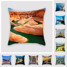 Fuwatacchi Ocean Tower Scenic Cushion Cover Night View Bridge Decorative Cover Pillows Decoration Pillowcase for Car Home 2019 цены