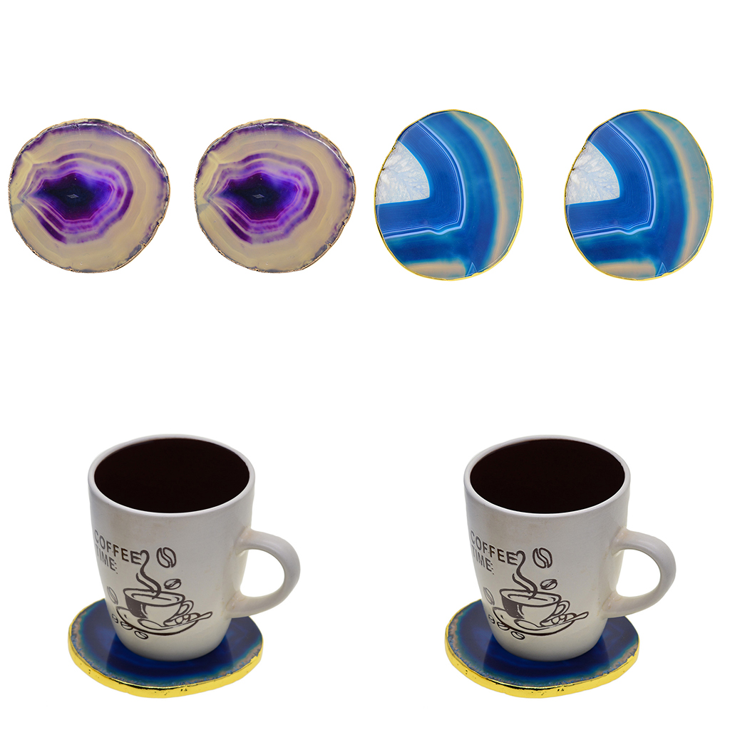 Ceramic Decal Glossy Gemstone Slice Earring Charms #54