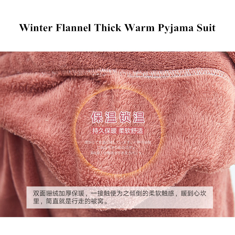 Autumn and Winter Flannel Women Pyjamas Sets Sleepwear Home Clothing Thick Warm Coral Velvet Female Nightgown Suit Pijama 28