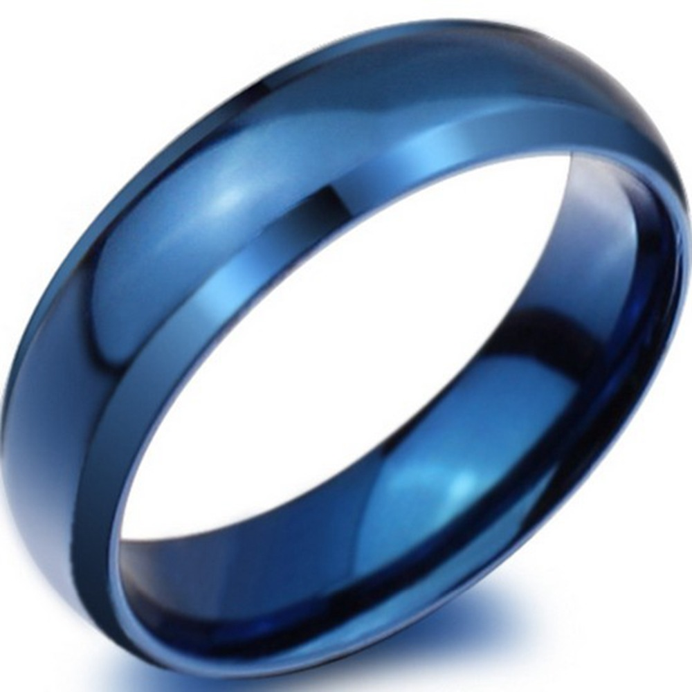 8MM Blue Stainless Steel Classic Plain Simple Wedding Engagement Ring School Children Anniversary Statement