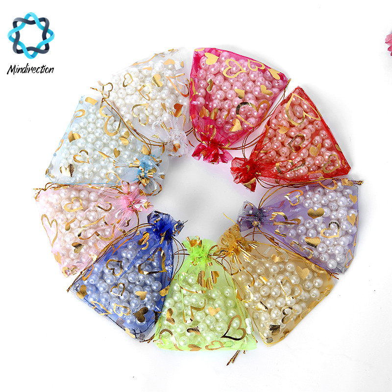 10 Pcs / lot Lovely Heart Organza Drawstring Pouches Jewelry Wedding Favor Gift Bags Household Different Colors to Choose