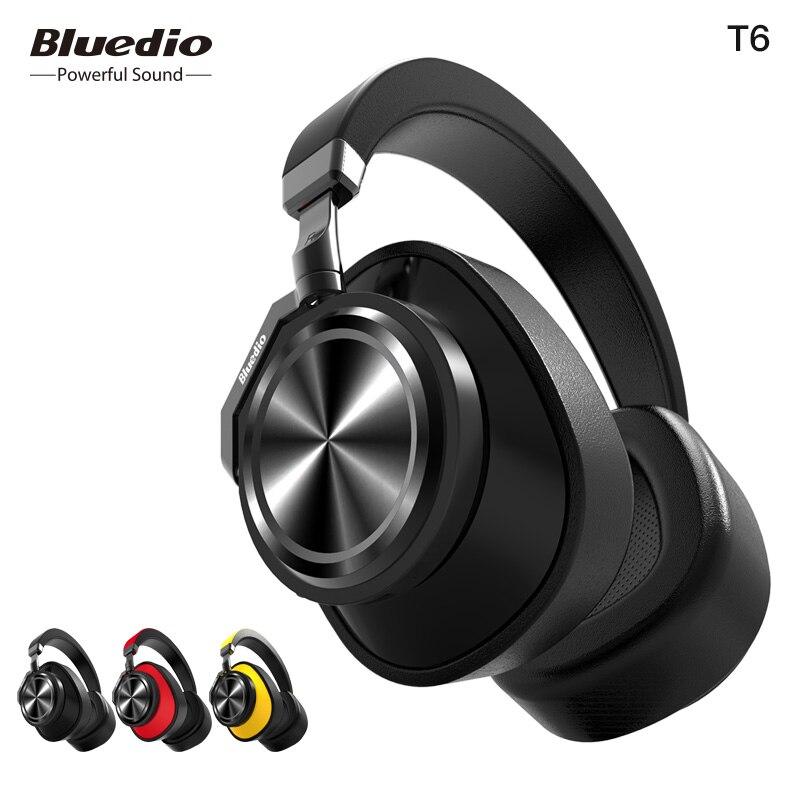 Bluedio T6 Active Noise Cancelling Sem Fio Bluetooth Fones De Ouvido com microfone para a música do telefone celular acessório