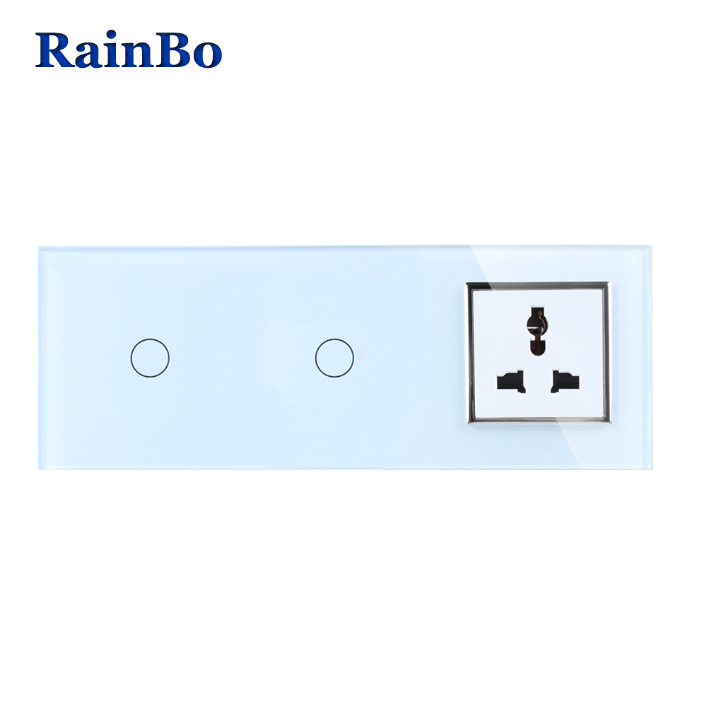 RainBo Crystal Glass Panel Multi-functi Power Socket EU Touch Socket Control Screen Wall Light Switch 1gang1way A3911118MUCW/B 2017 smart home crystal glass panel wall switch wireless remote light switch us 1 gang wall light touch switch with controller