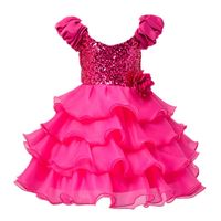 Summer Baby Girls Sequin Dresses Back Bowknot Tulle Wedding Party Dacing Tutu Cake Dress New