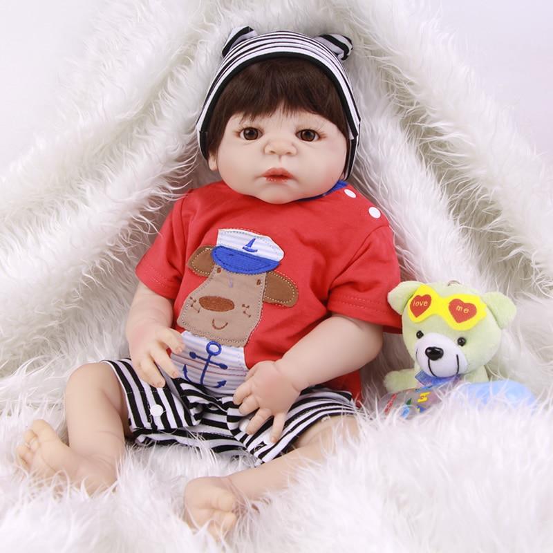 цена на Superior Boy Dolls Reborn 23 Inch Waterproof Realistic Newborn Silicone Vinyl Babies Toy With White Skin Kids Birthday Xmas Gift