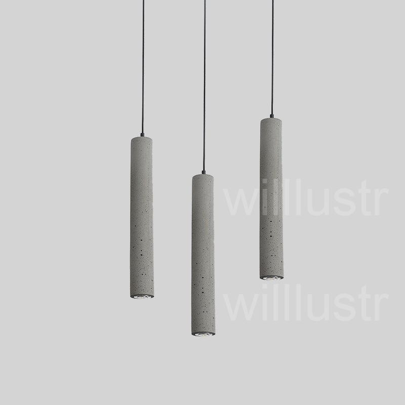 willlustr cement pendant light LED gray concrete suspension lamp minimalist design lighting hanging lamp dinning room restaurant