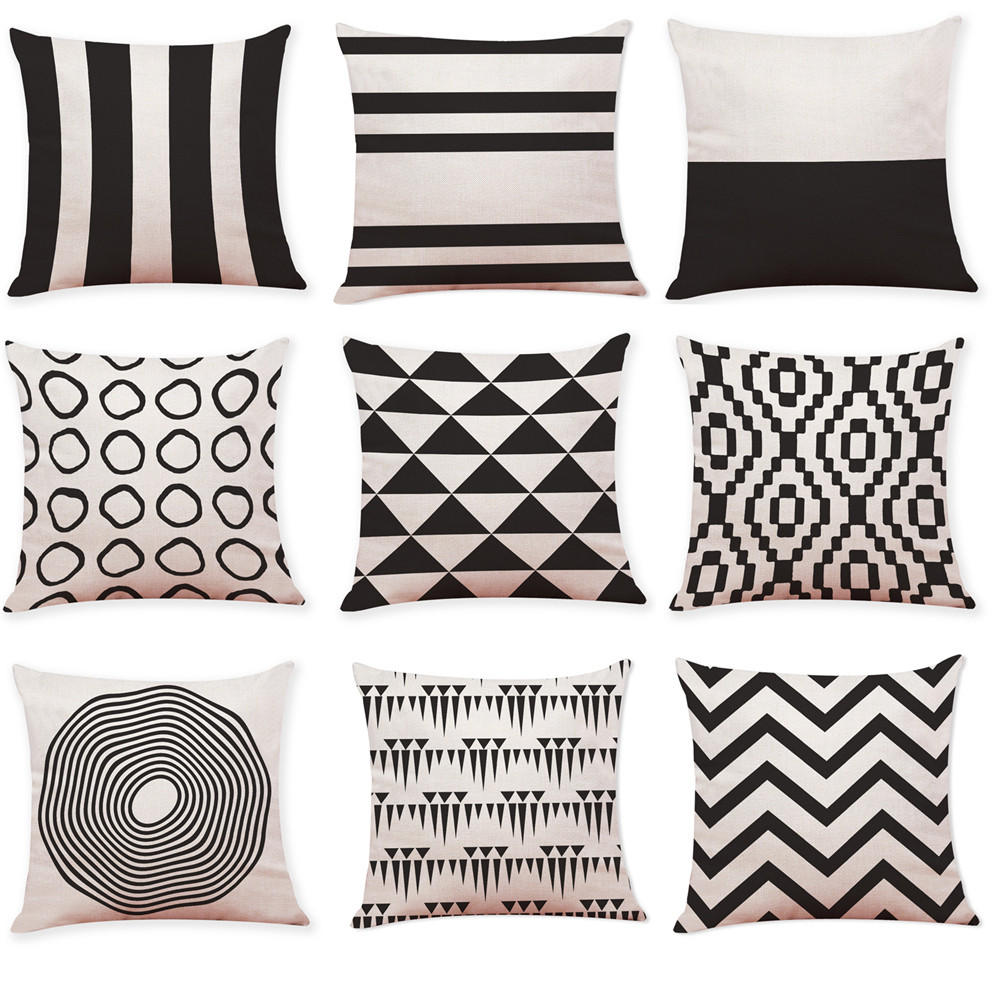 Aliexpress Com Buy Ouneed Black And White Geometry Throw - Sofa Cushions Black And White