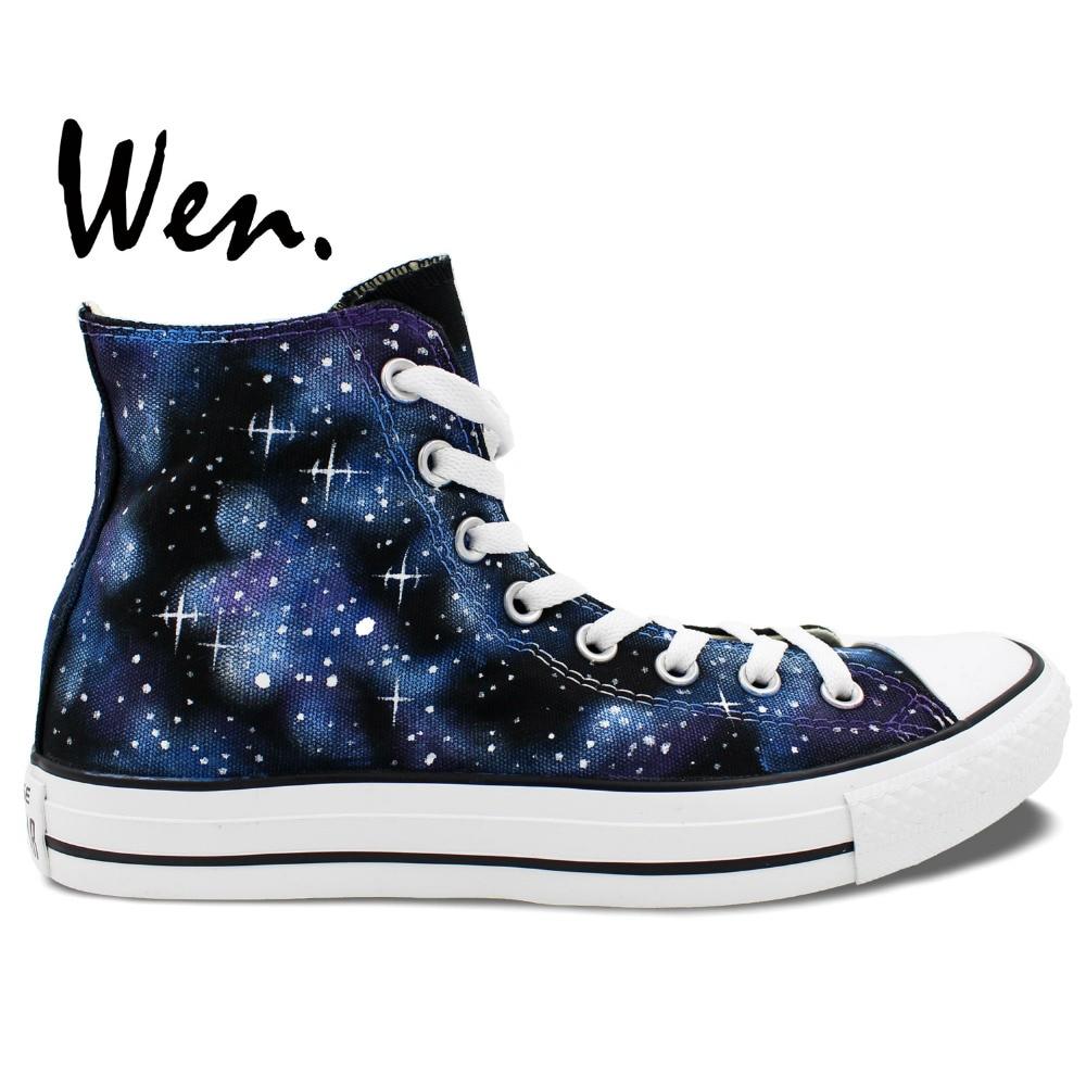 Wen Original Design Custom Håndmalede Sko Stjerner Blue Galaxy Men Women's High Top Canvas Sneakers Fødselsdag Gaver