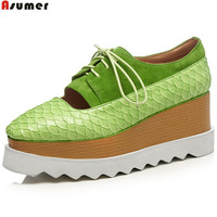 ASUMER Fashion Square Toe Lace Up Casual Spring Autumn Platform Wedges Shoes For Woman Pu Suede