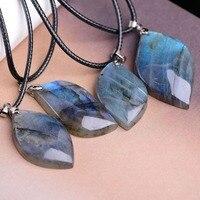 Wholesale 6pcs/lot Natural Stone Spectrolite Moonstone Sunstone Pendants Divination Spiritual Meditation Necklace Free Shipping