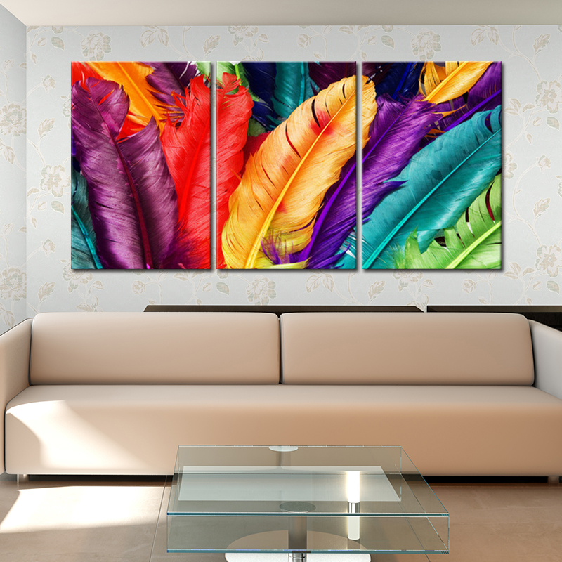 3pcs no frame modern colorful feather wall painting for Painting feathers on canvas