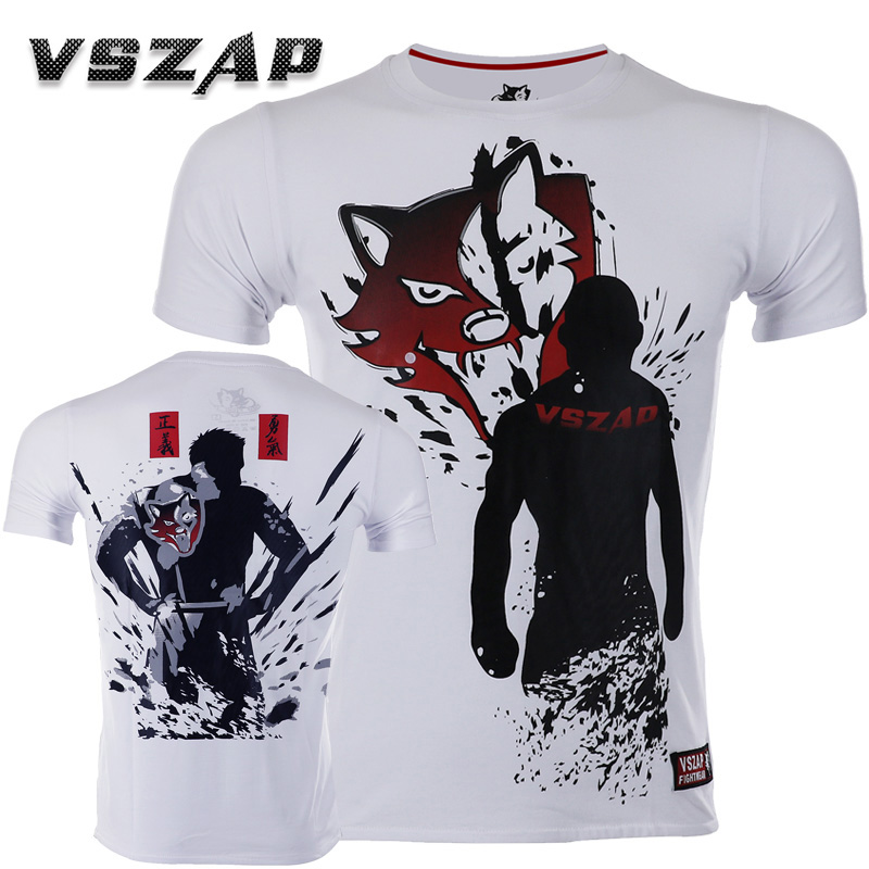 Vszap Boxing Jerseys Fight Mma T-shirt Gym Shorts Boxing Fitness Sport Muay Thai Cotton Breathable T Shirt Men Kickboxing Boxing Jerseys