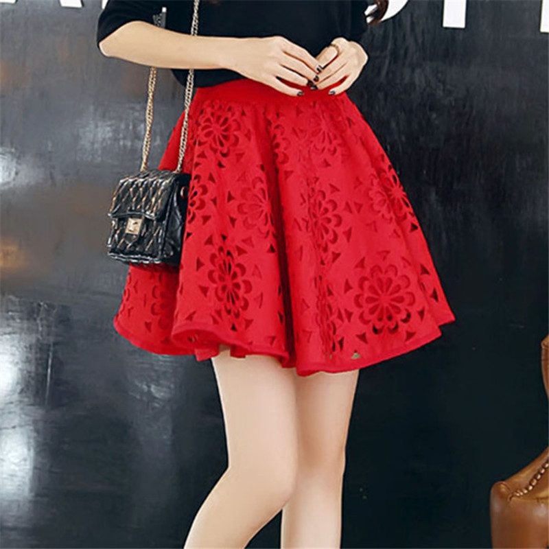 Retro Hollow Out Floral <font><b>Ball</b></font> Gown Empire Elastic band Mini <font><b>Skirt</b></font> Women Jupe femme Falda de las mujeres image