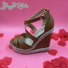 Brown Rope Heel Women Wedge Sandals Platform Ankle Strap Open Toe Ladies Shoe Sandals 2016 New Real Photo sandale femme talon