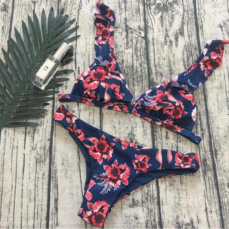 למעלה חוף ללבוש גבירותיי ביקיני סקסי מאיו הלטר שחייה חליפת לנשים בגד ים עם ראפלס מודפס בגדי ים סטרפלס 2018