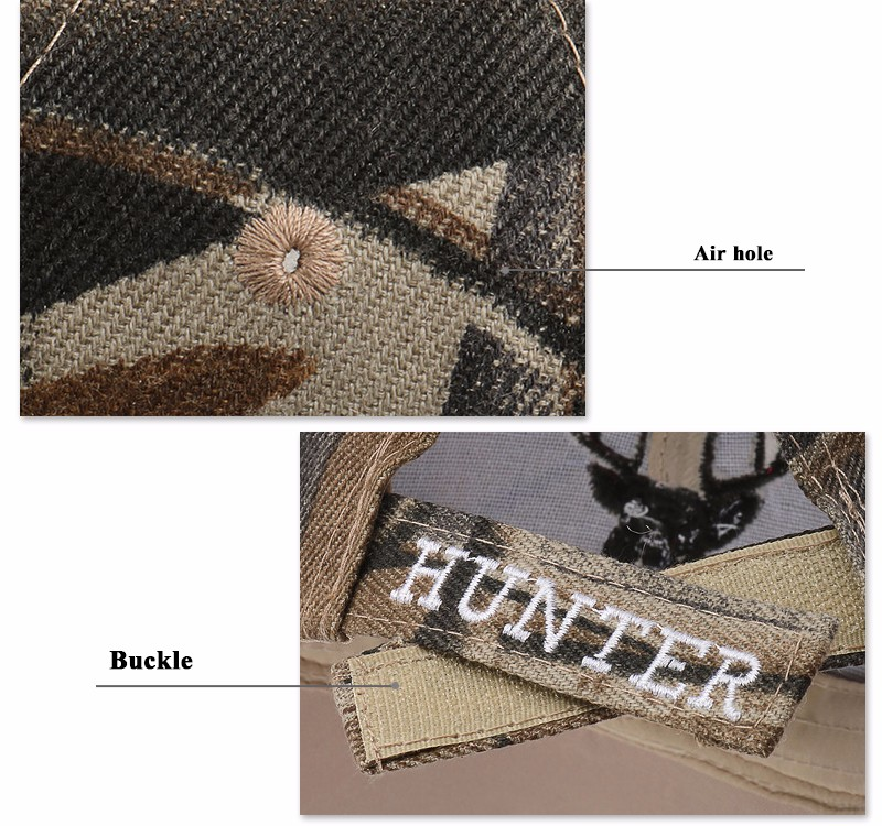 """Deer Hunter"" Embroidered Baseball Cap - Eyelet and Strap Detail Views"