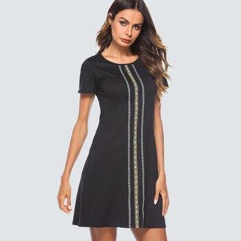 a6d5084df Vintage negro recto dama vestido Casual vestido suelto de ronda de cuello  de verano Mini vestido HT032