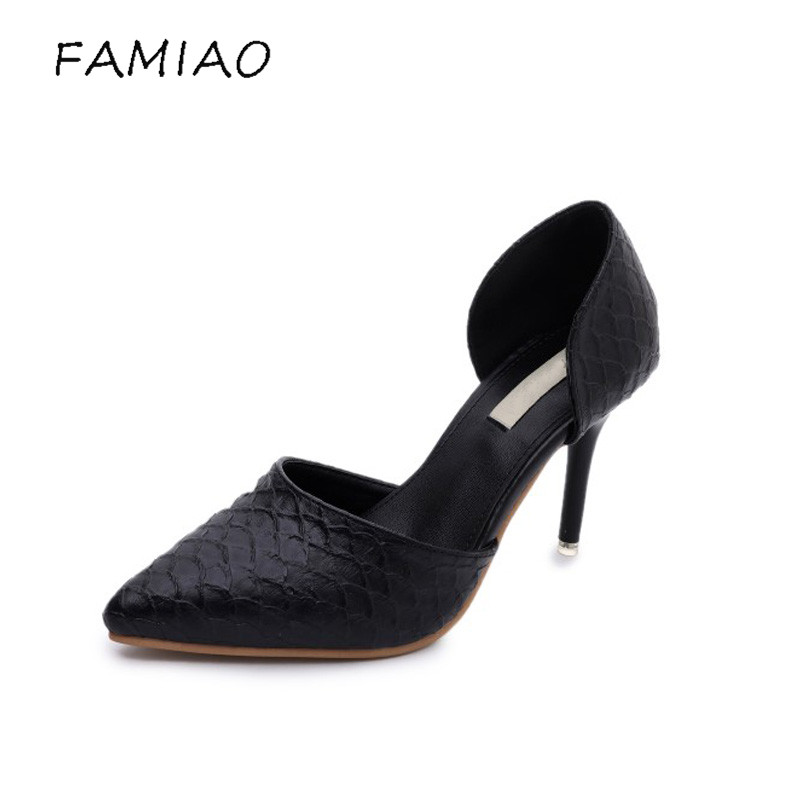 FAMIAOO women pumps chaussure femme black gray zapatos mujer tacon high heel 2017 pointed toe thin heel ladies pumps women shoes women t strap moccasins flat shoes low heel sandals black gray pink pointed toe ballet flats summer buckle zapatos mujer z193