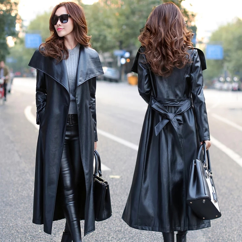 Women's Faux   Leather   Trench Coat With Bow Belt 2019 New Spring Autumn Slim Long PU   Leather   Coat Women Clothes Plus Size