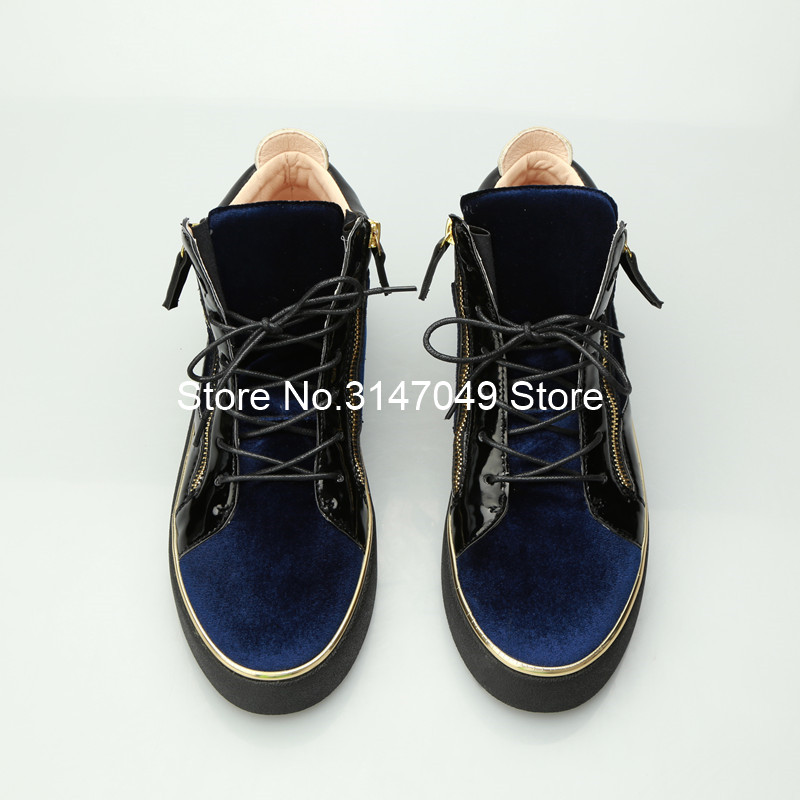 Lace Up Mannen Patent Schoen Gemengde Kleuren Sneakers Goud Omzoomd Casual Schoenen Hoogte Toenemende Schoenen Mannen Blauw Dikke Zool Trainers 46 - 4