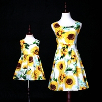 Mother Daughter Sundress Sunflower Print Family Clothing 2019 Mama Baby Mom and Daughter Beach Dress Family Matching Outfits