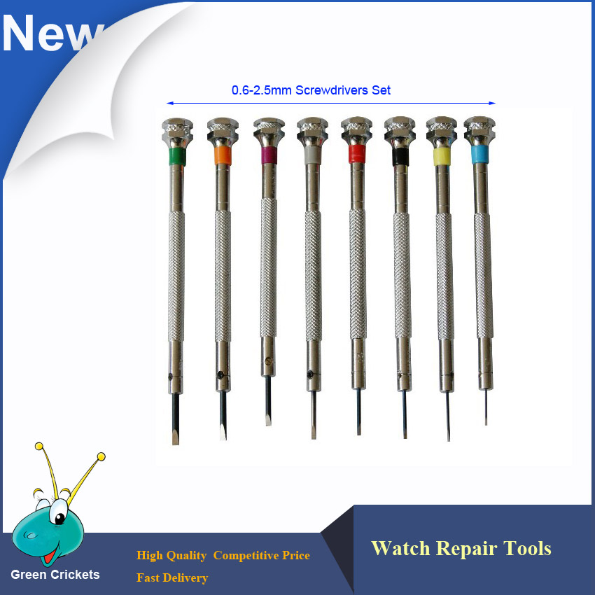100% Brand New 8pcs/lot 0.6mm~2.5mm Assort Slotted Flat Screwdrivers Set, Jewellers Watch Screwdriver For Watchmakers