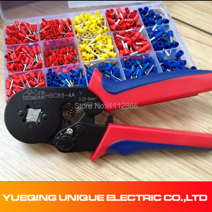 Free Shipping 0.25-6mm2 Wire Ferrule Crimp tool +Mixed 1000 Piece Wire Ferrules Kit pz0 5 16 0 5 16mm2 crimping tool bootlace ferrule crimper and 1k 12 awg en4012 bare bootlace wire ferrules
