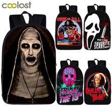 Horror Demonic Sister Valak / Freddy / Jason Print Backpack Women Men Rucksack T