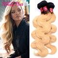 New Brazilian Virgin Hair 4 Bundles Ombre Dark Roots Blonde Brazilian Hair Bundles 2 Two Tone Brazilian Weave Hair Ombre 1B #27