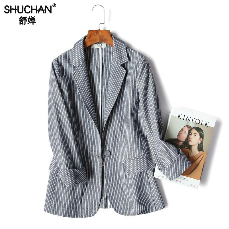 Shuchan 45% Cotton+20% Linen Fitted Striped Female Jacket Women Blazers And Jackets Single Button Notched 2019 new style X 6003