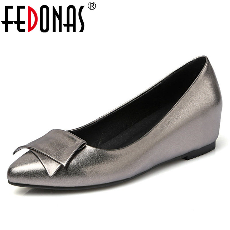 FEDONAS Fashion Women Genuine Leather Ladies Pumps Comfort Wedges High Heels Shoes Wedding Office Pumps Spring Autumn Shoes 2017 ladies round toe handmade shoes women genuine leather high heels girls fashion spring autumn office pumps pritivimin fn20