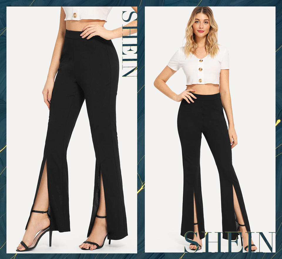 SHEIN Black Split Solid Leggings Workwear Elegant Plain Mid Waist Casual Leggings Women Fitness Spring Autumn Pants 4