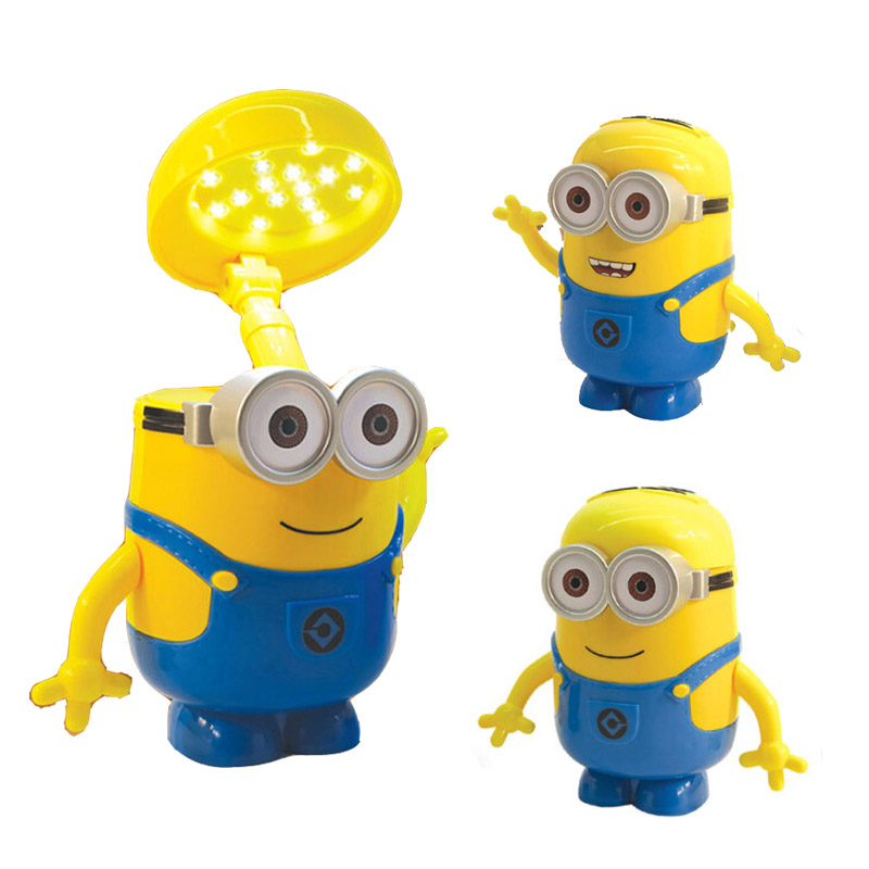 LED Rechargable Minions Desk Lamp Children Light Fold Table Piggy Bank For Living Room Bedroom