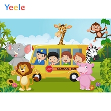 Yeele Vinyl Animals Zoo School Bus Children Birthday Safari Party Photography Background Baby Photographic Backdrop Photo Studio
