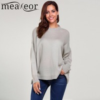 Meaneor Women Loose Sweater Casual Long Sleeve Drop Shoulder Oversized Solid Loose Pullovers Warm Winter Autumn