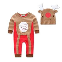 Pudcoco 0 18M Xmas Reindeer Costume Baby Boy Christmas Outfits Romper Hat Gifts Long Sleeve O