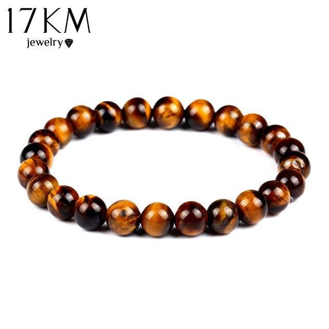 17KM Fashion Tiger Eye Love Buddha Bracelet Elastic Rope Chain Lava Stone Bracelets Women Men Jewelry pulsera brazalete