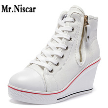 2018 New Big Size Canvas Shoes Woman Wedge Side Zipper Height Increase Casual Shoes High Top Platform Wedges Sneakers Women