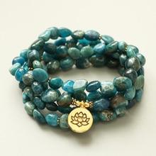 EDOTHALIA необразный натуральный камень апатита 108 бусины Мала Браслет для женщин мужчин любителей йоги браслет для медитации